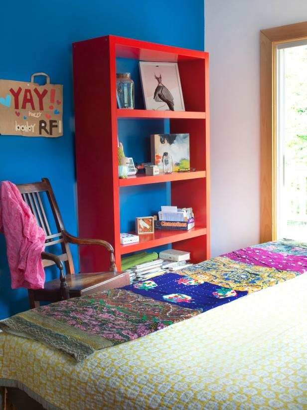 Bold Red Bedroom Bookshelf