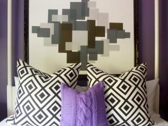 Eggplant Bedroom With Graphic Black and White Art
