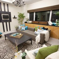 eclectic living room with zebraprint rug