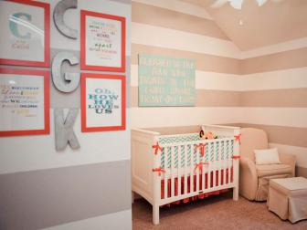 Transitional Nursery With Gray And Beige Striped Walls