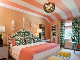 Peachy Bedroom With Striped Ceiling and Green and White Decor