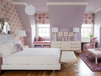 Transitional Lavender and White Girl's Bedroom