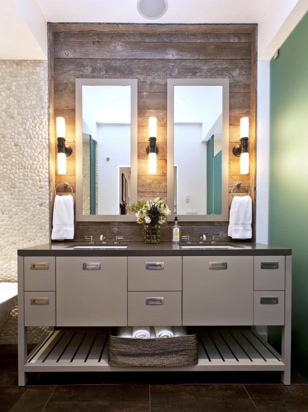 Modern Bathroom Vanity with Rustic Backsplash