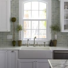 Farmhouse Sink in Transitional Green and White Kitchen