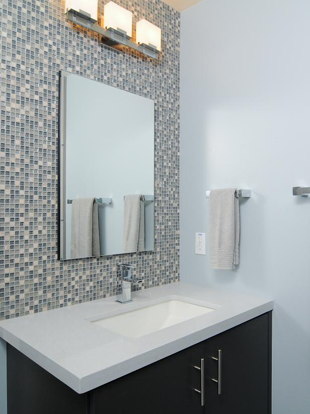 Modern Blue Bathroom With Mosaic-Tile Backsplash