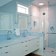 Baby Blue Bathroom With Modern Fixtures