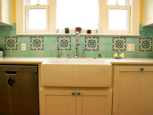 Yellow Kitchen With Blue Backsplash