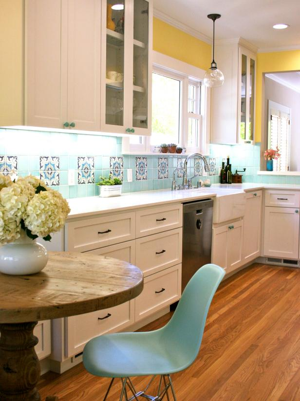 Transitional Kitchen With Turquoise Tile Backsplash