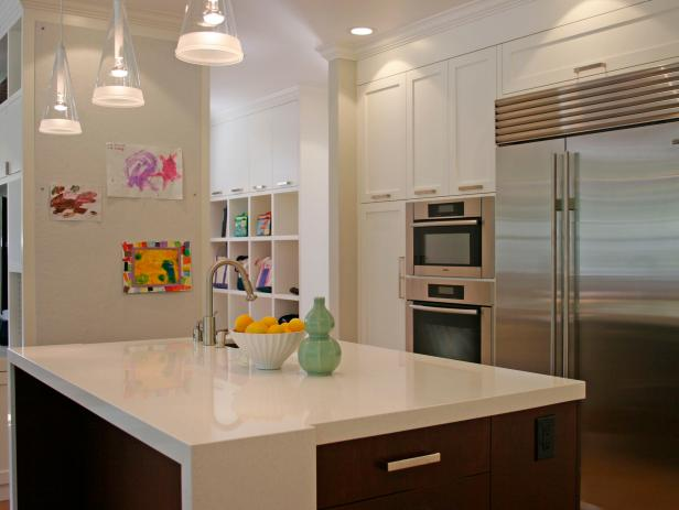 Kitchen With Contemporary Island & White Cbainets
