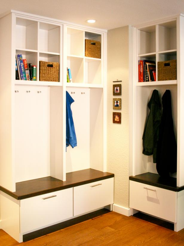 Mudroom Storage With White Cabinetry