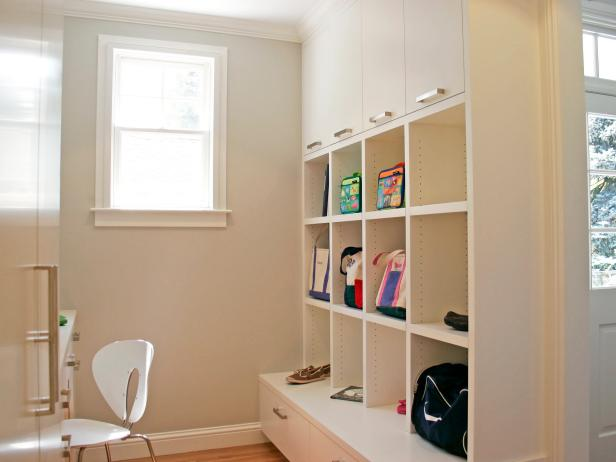 Neutral Mudroom With Open Shelving