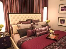 Glamorous Purple Bedroom with Neutral Tufted Headboard