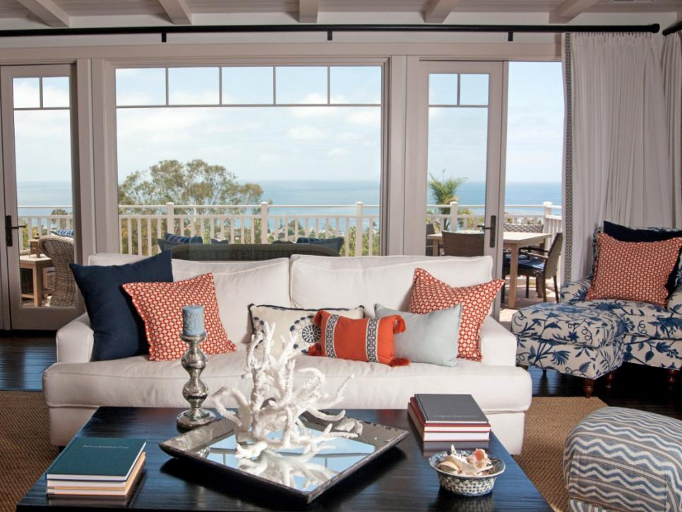 Coastal living room ideas hgtv - Airy brown and cream living room designs inspired from outdoor colors ...