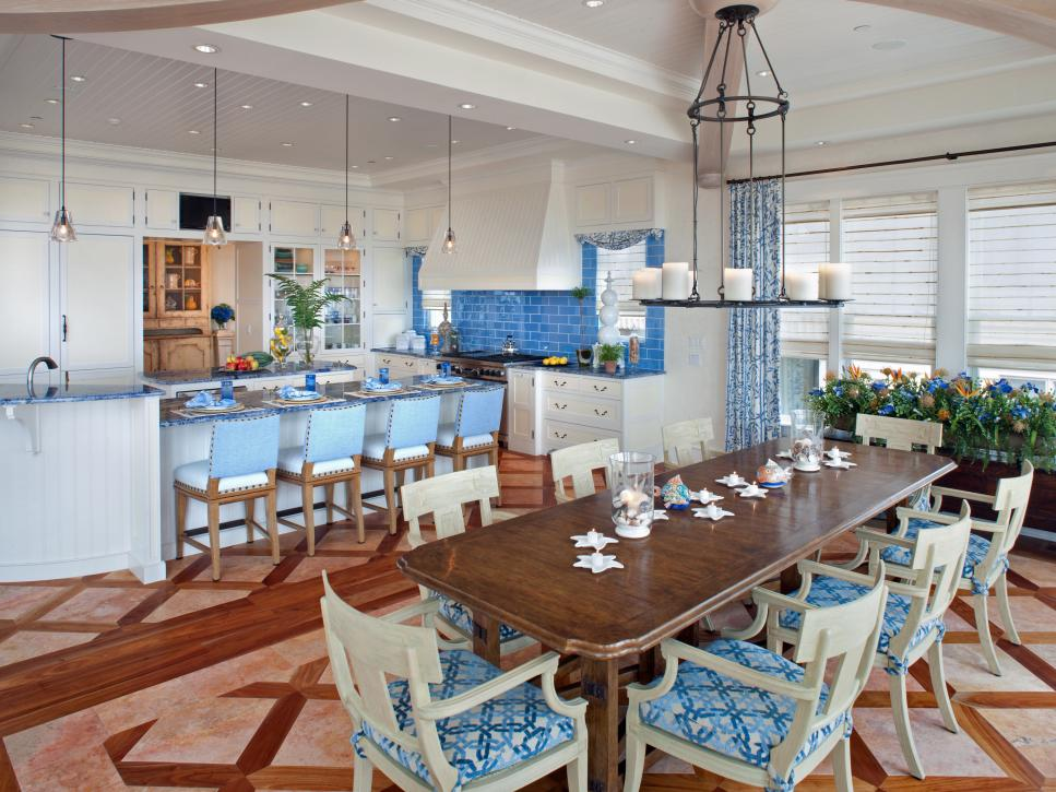 White Kitchen And Dining Room coastal kitchen and dining room pictures | hgtv