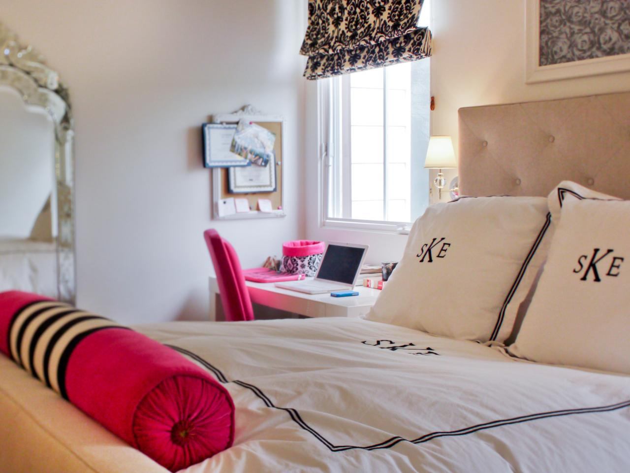 Neutral and hot pink teen girl 39 s bedroom hgtv - Bedroom decor ideas for teenage girl ...