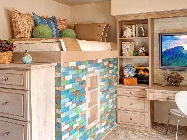 Blue and Green Brick Loft Bed in Coastal Bedroom