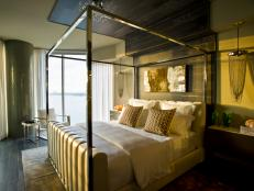 Art Deco Master Bedroom With Metal Canopy