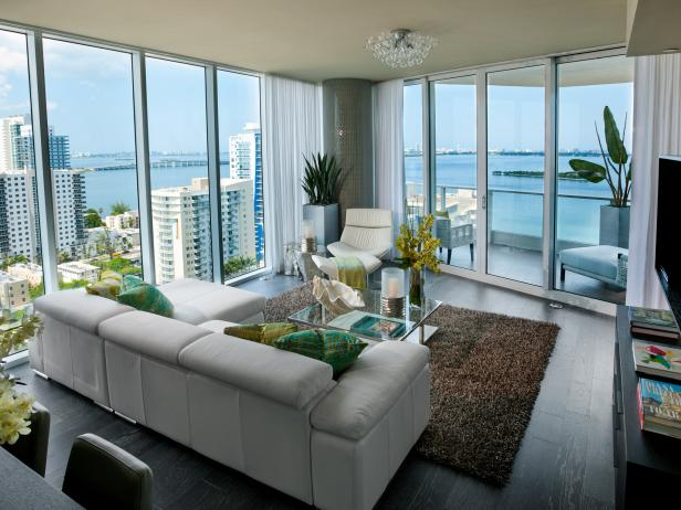 Small High-Rise Living Room With Waterfront View