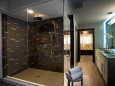 Master Bathroom With Brown Tiled Shower