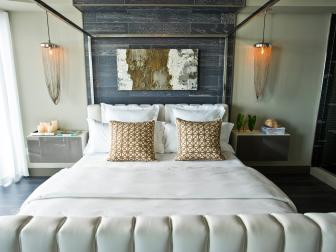 Comfortable Master Bedroom With White Bed Linens