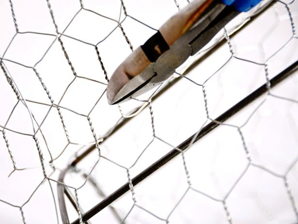 Trim excess wire where ends of chicken wire meet.
