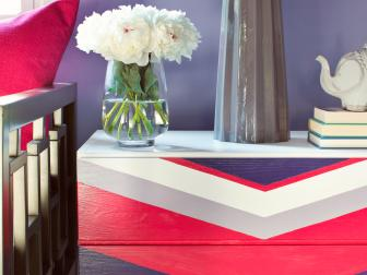 Bold Chevron-Painted Dresser in Purples and Pink