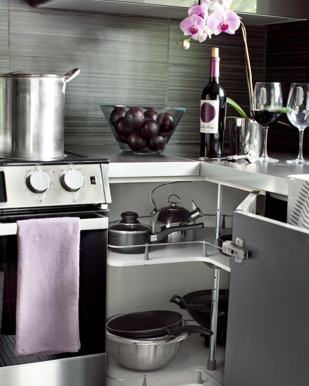 Grey Kitchen With Corner Cabinet Lazy Susan