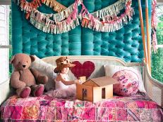 Kids' Room: Duct Tape Bedskirt and Chevron Wall