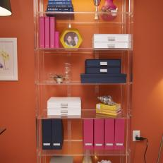 Clear Bookshelf With Magazine Holders and Organizers