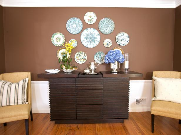 Dining Room Buffet with Collection of Plates