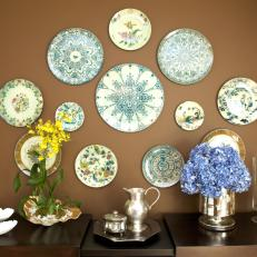 Eclectic Dining Room With Wall Art Plates