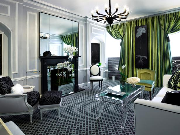 Living Room With Green Satin Drapes