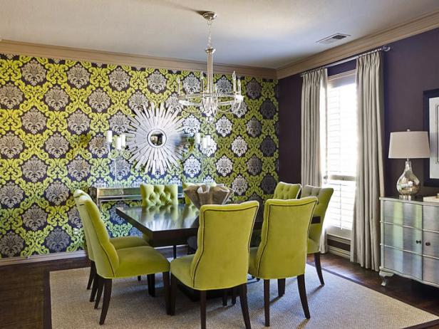 Dining Room with Green and Silver Wallpaper