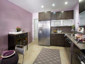 Contemporary Purple Kitchen With Gray Cabinets