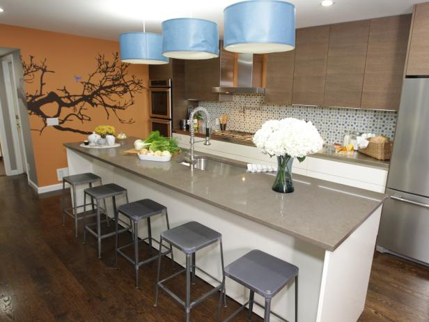Orange Kitchen With Tree Art