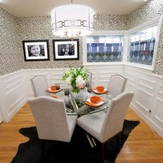Transitional Dining Room With Black and White Wallpaper