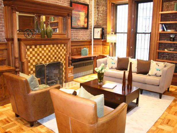 Craftsman Living Room with Checkerboard Fireplace Surround