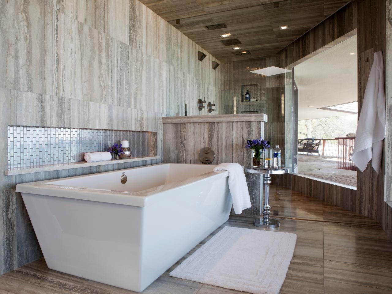 Contemporary bathrooms pictures ideas tips from hgtv for Full bathroom remodel