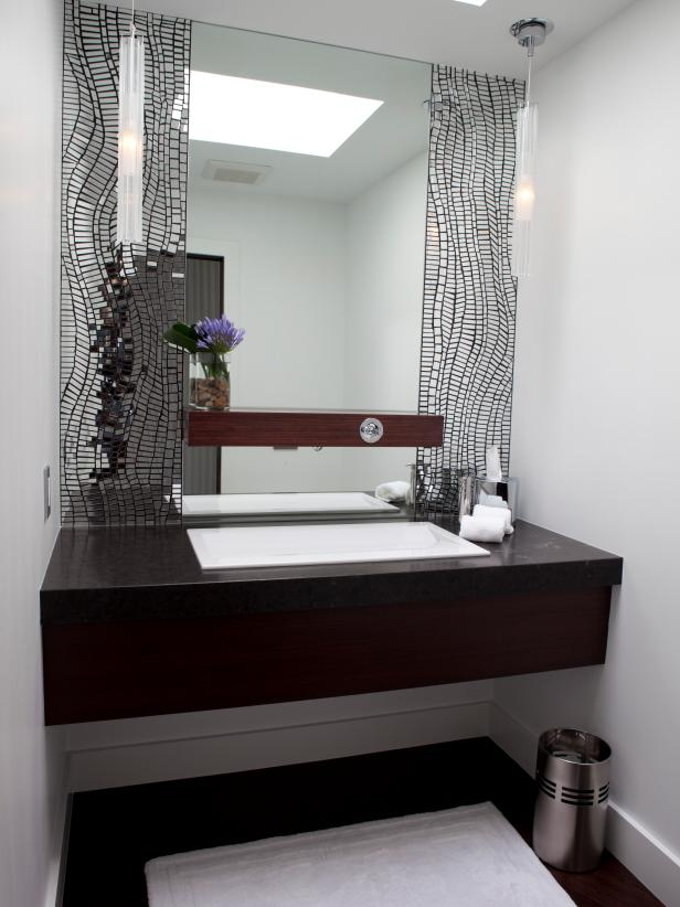 White Bathroom With Floating Single Vanity
