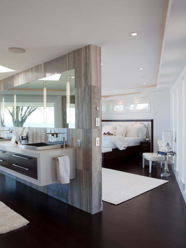 Modern White Bedroom With Gray Dividing Wall