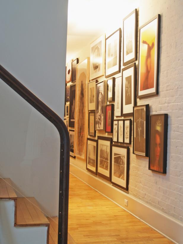 Staircase and Gallery Wall in Loft Hallway