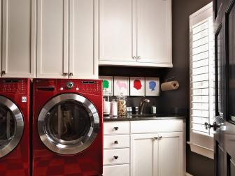 Contemporary Laundry Room With Checkerboard Flooring