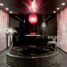 Contemporary Black Bathroom With Red Chandelier
