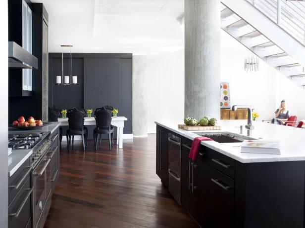 Contemporary Black Open Kitchen With Island
