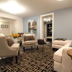 Blue Basement Living Room From HGTV's Income Property