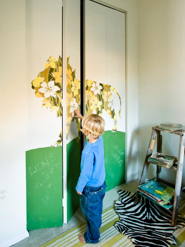 A Kid's Bedroom Closet Door Turned Into an Activity Center and Mural
