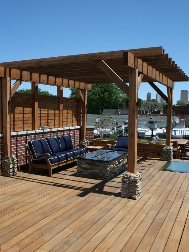 Rooftop Deck Seating Area with Cedar Pergola and Fire Pit