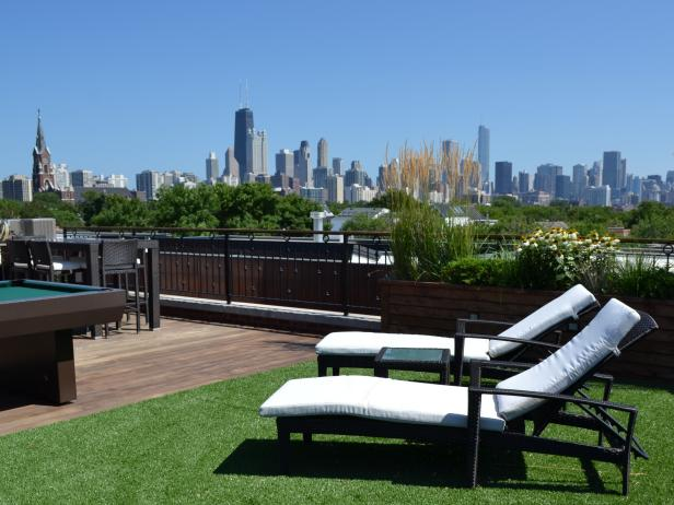 White Lounge Chairs on Urban Rooftop