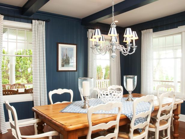 Country-Style Dining Room With Blue Wall Paneling