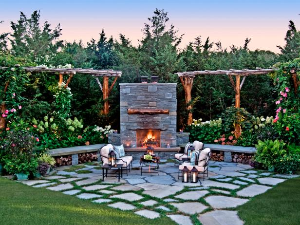 Outdoor Stone Patio With Fireplace